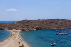 cyclades kythnos beach sailboats aegean
