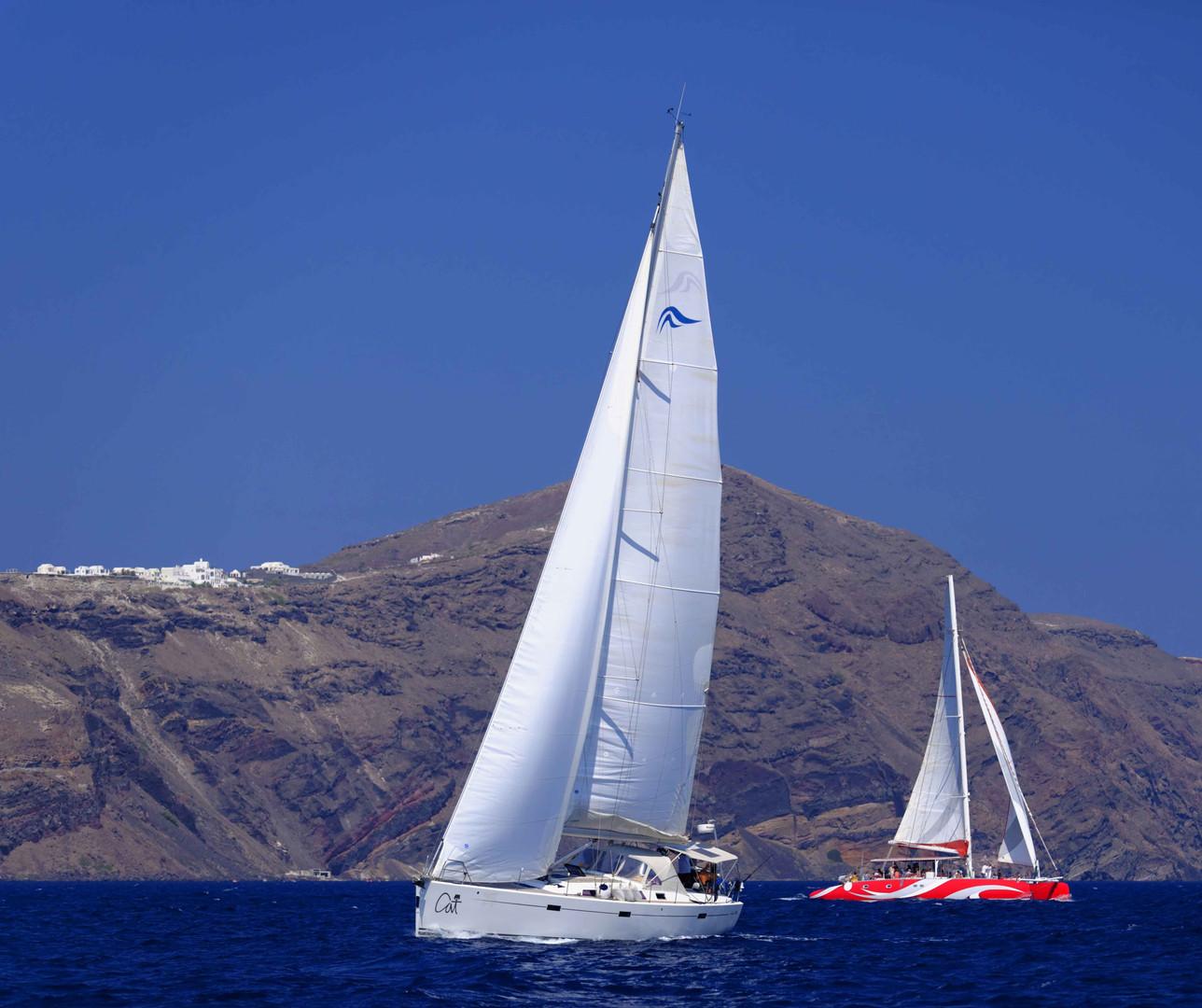 sail boat catamaran greece santorini cyc