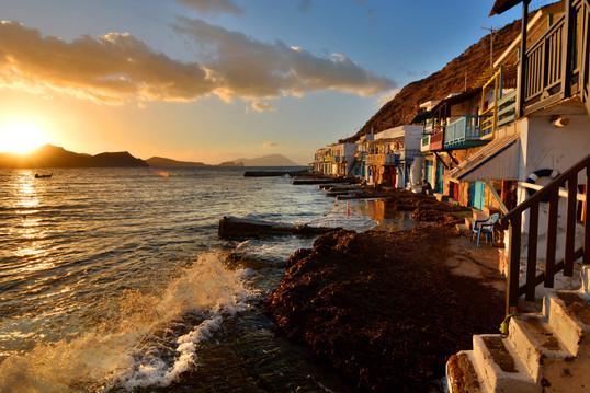 milos sunset fisherman village sea cycla