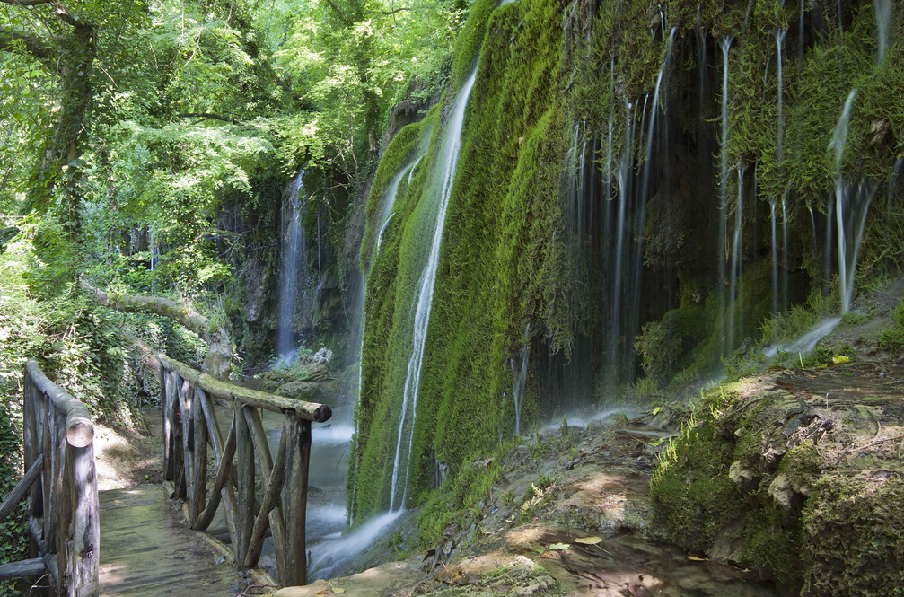 skra waterfall wooden bridge greece nort