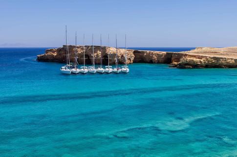 cyclades koyfonisia sailing boats at doc