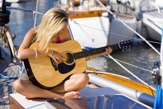 person woman music sailing sea abstract