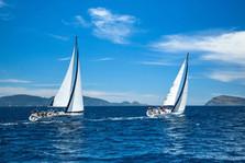 SAILBOAT REGATTA GREECE TWO BOATS SEA GR