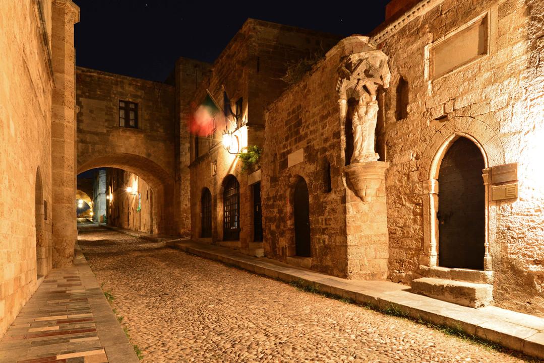 rhodes castle walkways nights eastern ae