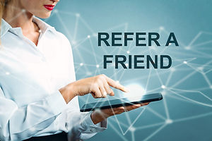 Refer A Friend text with business woman