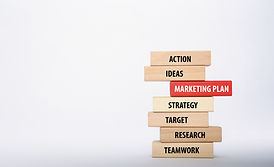 MARKETING PLAN concept with Wooden Block