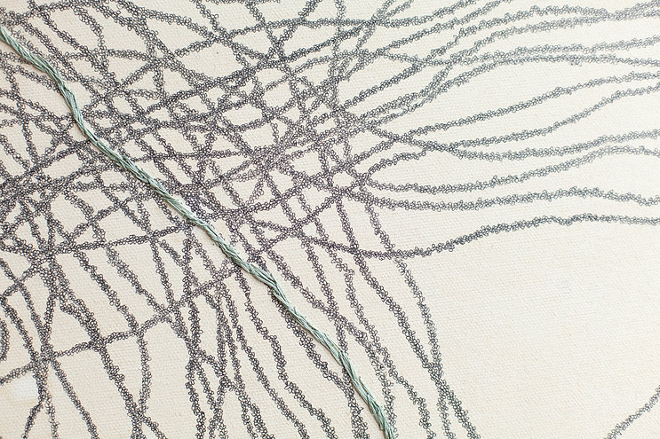 Varka Kozlovič_Op.n.30_detail_mixed media_drawing and abstract embroidery on canvas