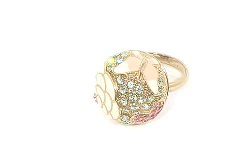 Flower and Heart shape cocktail ring