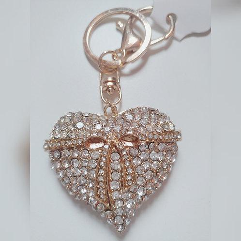 Rhinestone Heart Bag Charm