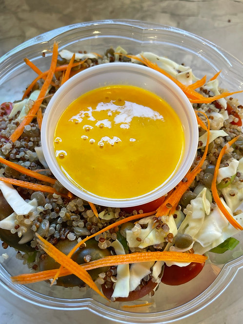 Quinoa, Cabbage, Bell Peppers + Scallion w Carrot Miso Dressing