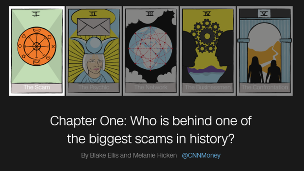 CNNMoney award-winning journalists Blake Ellis and Melanie Hicken launched a months-long investigation to search for elusive French psychic Maria Duval, who was the face of a scam that lasted decades, spanned dozens of countries and bilked millions of dollars from unsuspecting victims. The 5-part series was rolled out over several weeks.  My role was to develop a multi-pronged social media content strategy, coordinating with the investigative team, design, and legal for compliance sign-off.   The result:  Created multilingual versions of social posts in coordination with CNN and CNN International translators Communicated with the larger CNN and CNN International digital teams, heavily pitching the series during daily editorial meetings, ensuring the teams had all the assets they needed  Developed coverage notes with social assets for the CNN and CNN International social teams  After 5 weeks of the first chapter being launched, the series had: 3 million pageviews with an average engagement time of 2.1 minutes 1.3 million video views on Facebook 58,700 Facebook likes, shares and comments 894 retweets 1,860 likes on Instagram