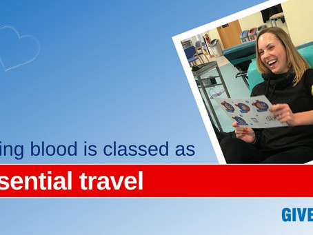 Giving blood is classed as essential travel