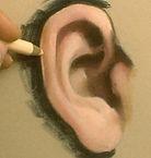 dessiner-une-oreille-aux-crayons-pastels