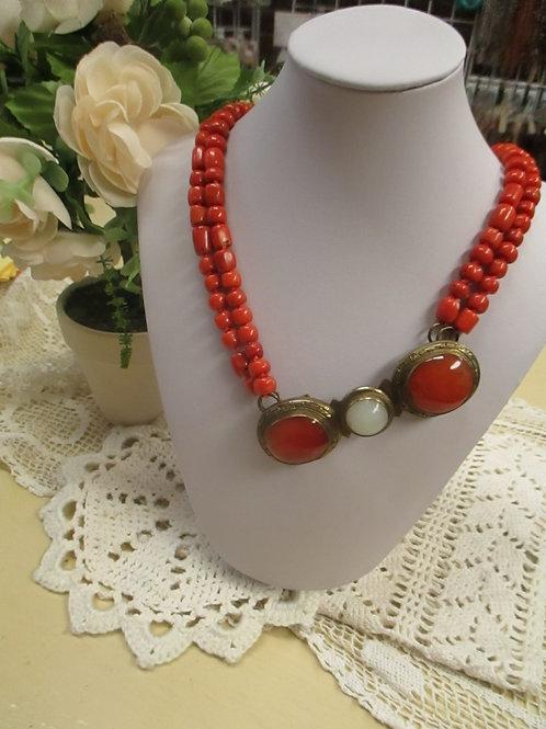 Vintage Coral Necklace with Carnelian Centerpiece
