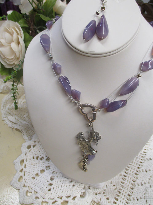 Purple Bead and Charm Floating Necklace Earring Set