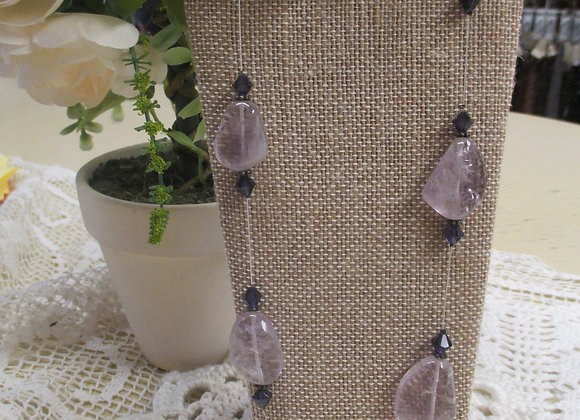 Floating Amethyst Necklace and Earrings