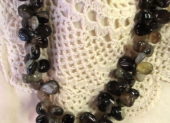 Black/Tan Chalcedony Necklace