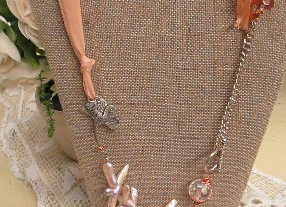 Eclectic Peach Pearl Necklace