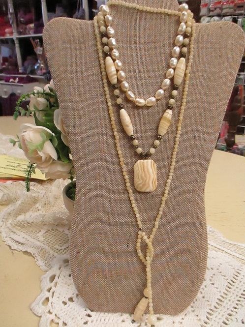 Yellow Lace Jasper Necklace Set