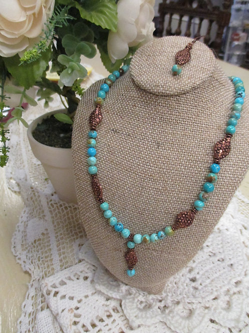 Turquoise & Copper Necklace Earring Set
