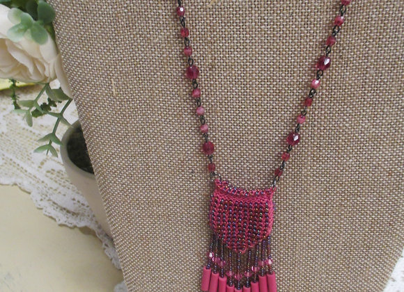 Hot Pink Beaded Knit Amulet Purse