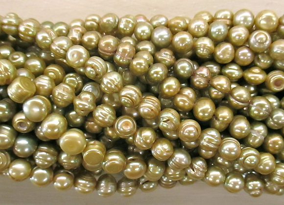 FWP43 Chartreuse 7mm Baroque Round
