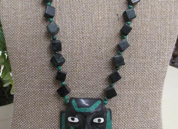 Malachite Tribal Face Necklace