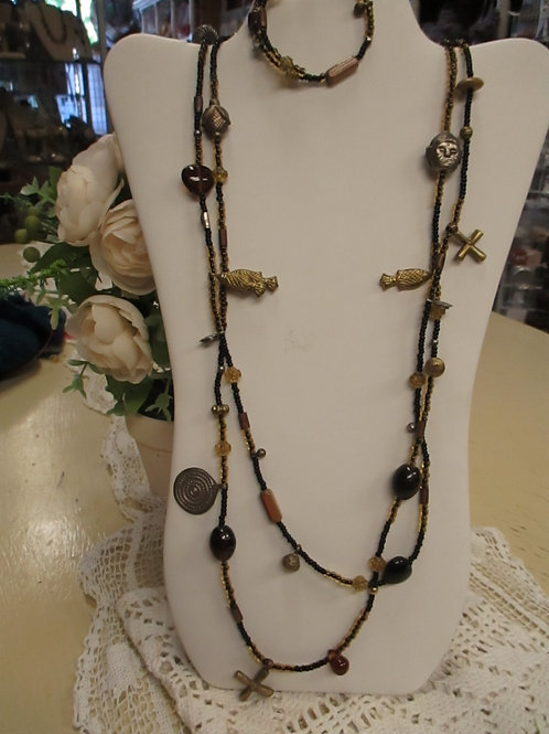 Gold/Black Long Charm Necklace & Bracelet Set