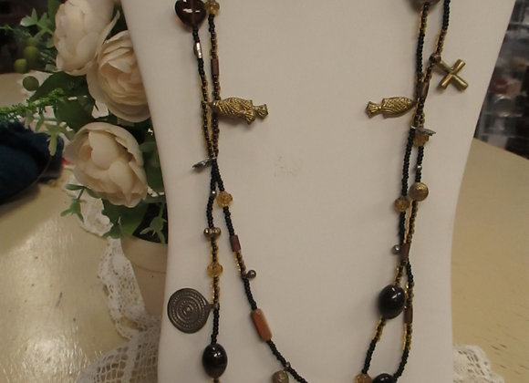 Gold/Black Long Charm Necklace & Bracelet Set