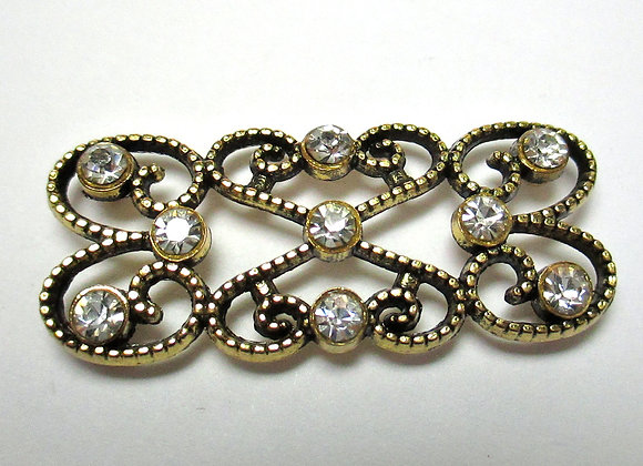 Antique Gold/Crystal Connector Bar 16 x 42mm