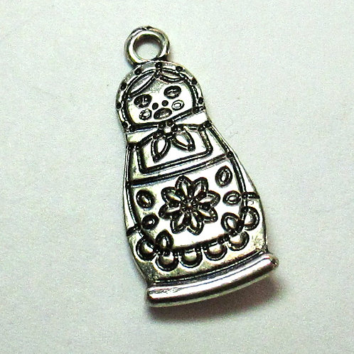 Two-sided Russian Doll Charm 25 x 12mm