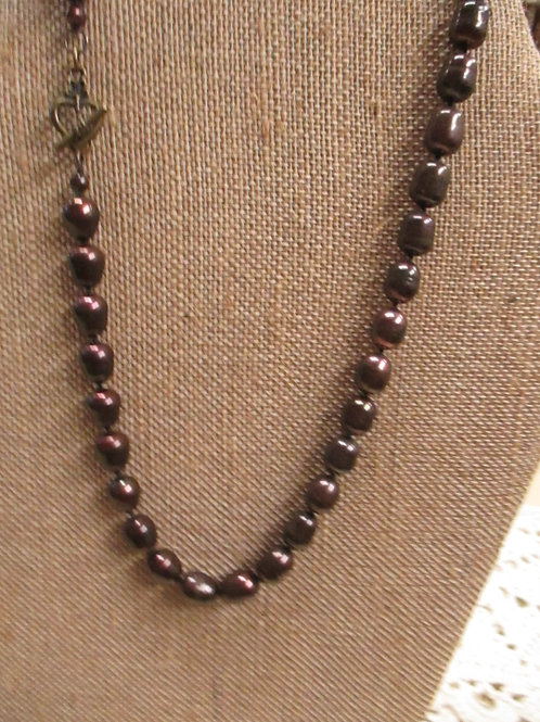 Knotted Brown Rainbow Pearls
