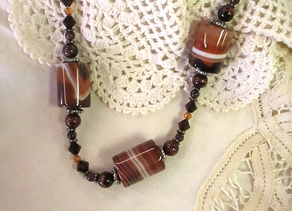 Striped Agate Barrel Necklace