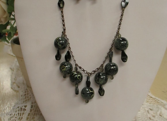 Black and Brass Necklace Earring Set