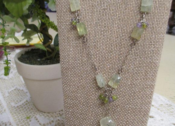 Prehnite, Peridot & Amethyst Necklace