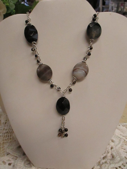 Striped Agate and Chain Necklace