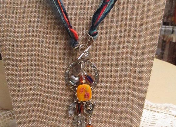 Blue/Orange Fiber, Bead & Charm Necklace