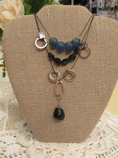 Eclectic Blue and Black Necklace