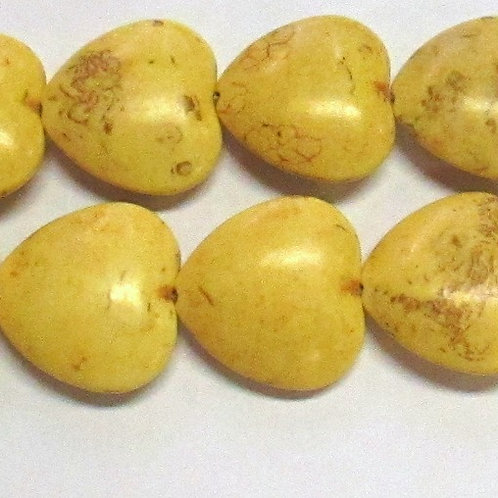 20mm Hearts Yellow Magnesite GE13