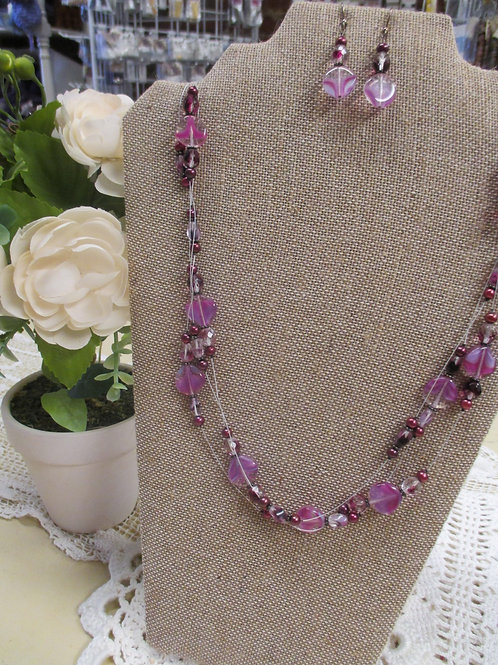 Pink & Purple Floating Necklace & Earring Set