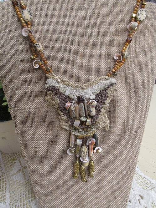 Woven Shell & Brass Necklace