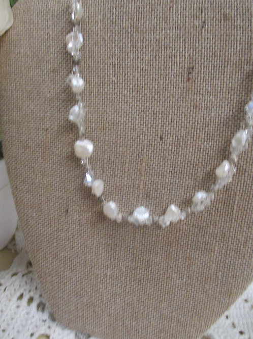 Woven Crystal and Pearl Necklace & Earring Set