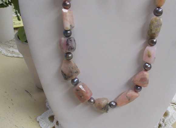 Pink Opal and Freshwater Pearl Necklace & Earring Set