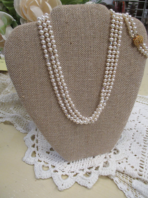 Triple Strand Pearl Necklace, Bracelet and Earrings