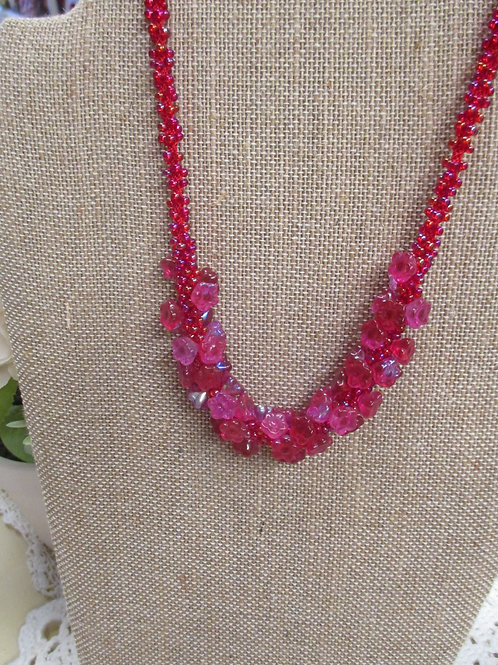 Hot Pink Glass Flower Necklace