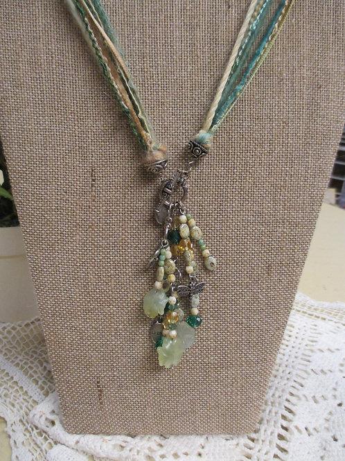 Green Fiber, Bead & Charm Necklace