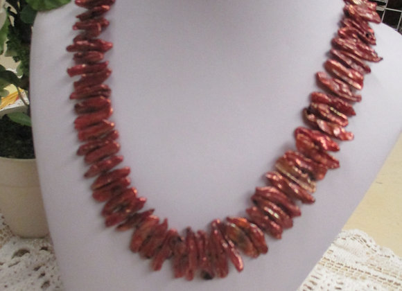 Rust Stick Pearl Necklace