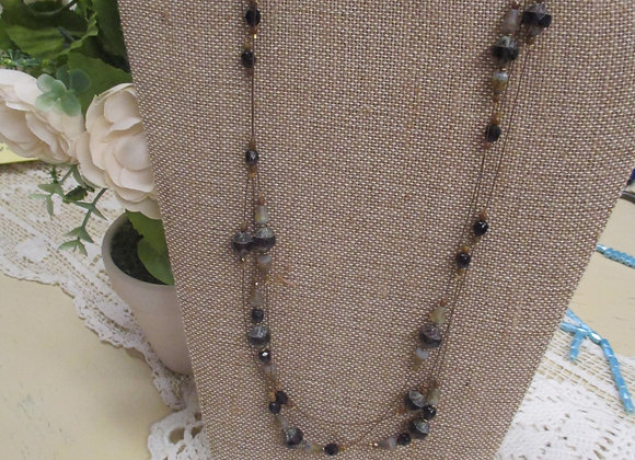 Purple and Brass Floating Necklace Earring Set