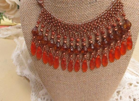 Orange Fringe Necklace