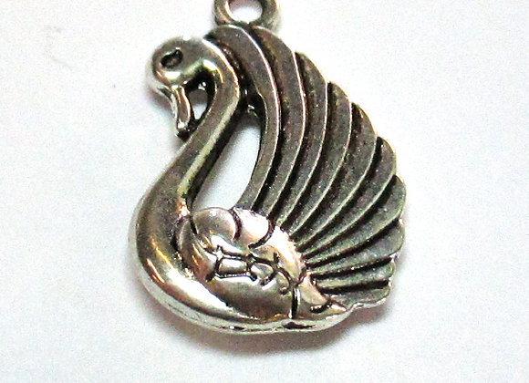 2 sided Swan Charm 22mm